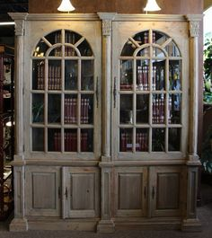 Reclaimed Restoration Hardware style arched cabinet.  Base has 4 doors.  Hutch has 2 beveled glass doors and 3 levels of fixed shelves. #OnTheShowroomFloor #Reclaimed #Restoration #Hardware #Style #Arched #Cabinet #NEW #StillGoode