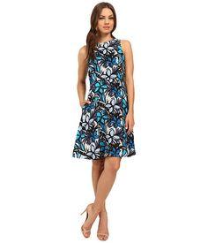 Donna Morgan Faille Wide Strap A-Line Dress Ink Multi - 6pm.com
