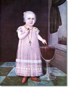 Unknown Artist - American Folk Art Painting Portrait by Unknown Artist - Emma Van Name 1795 - 24 x 20  Approximate Size Of Original Painting In Inches Painting