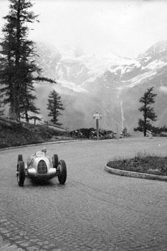 "motorsportsarchives: "" Hans Stuck en route to winning the 1938 Großglockner Grand Prix in an Auto Union Typ C. """