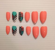 Customized Aztec Press On Nails Fake nails ( This Set Is Currently Pending To Be Shipped Out Up To July 25th if Purchased.). $25.00, via Etsy.