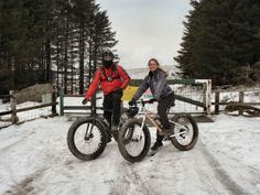 Tara and Tremaine on the Fat-Bikes in Wales
