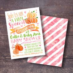 Pumpkin Baby Shower Invitation Watercolor By BloomberryDesigns