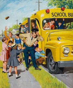 Unexpected Holiday, art by Arthur Sarnoff. School Days catching the bus Vintage Abbildungen, Photo Vintage, Vintage School, Vintage Prints, Vintage Posters, Vintage Pictures, Vintage Images, Arte Pop, Retro Art