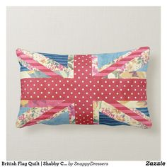 Shabby Chic Quilts, Vintage Quilts, Country Bedding Sets, Lumbar Pillow, Throw Pillows, Flag Quilt, Vintage London, Pink Polka Dots, Designer Pillow