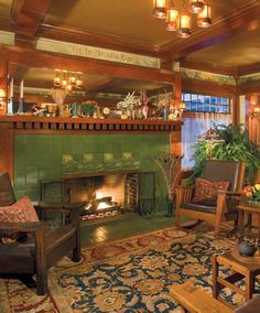 This Craftsman living room was added to a 1901 house in simple raw linen curtains admit the late-afternoon light. Photo: William Wright I like the lettering above the fireplace. Craftsman Living Rooms, Craftsman Fireplace, Craftsman Interior, Craftsman Style Homes, Craftsman Bungalows, Craftsman Houses, Tiled Fireplace, Cottage Fireplace, Fireplace Outdoor