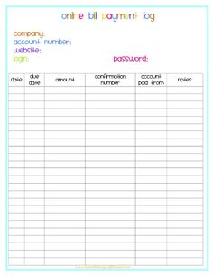 organize your bills with free printables free printables