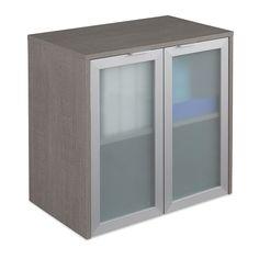 "Boardwalk Hutch with Frosted Glass Doors - 30.1""W   National Business Furniture #modernoffice #modern #moderndesign"