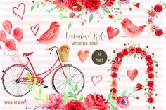 Watercolor Clipart Valentine Red by Corner Croft on @creativemarket