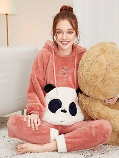 To find out about the Panda Embroidered Plush Hooded PJ Set at SHEIN, part of our latest Pajama Sets ready to shop online today! Moda Fashion, Pink Fashion, Fashion News, Girl Outfits, Cute Outfits, Fashion Outfits, Pijamas Women, Cute Sleepwear, Cute Pajamas