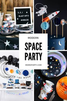 Modern Space Party for Kids Birthday Awesome party ideas for a modern space party. Featuring space themed party decorations and supplies of rockets, planets, astronauts, stars and moon, your next space party will surely be out of this world! 2nd Birthday Party Themes, 1st Boy Birthday, First Birthday Parties, First Birthdays, Themes For Parties, Party Ideas For Kids, 5th Birthday Ideas For Boys, Party Themes For Teenagers, Fun Party Themes