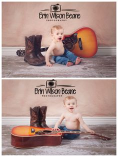 www.facebook.com/erinwilsonbeanephotography    baby boy, first birthday, guitar