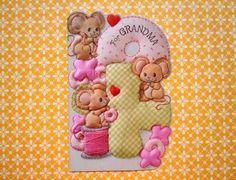 Vintage-Valentine-039-s-Day-Die-Cut-Greeting-Card-Brown-Mice-Sewing