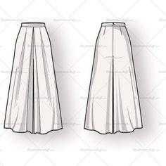 Women's Long Pleated Skirt Fashion Flat Template