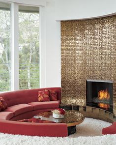 70's glam. loving this cozy little nook.. shag carpet by the fire, do not like the gold. :-)