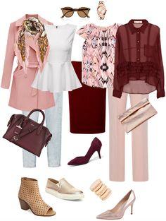 Ensemble: Summer Burgundy & Blush by via Pink Pants Outfit, Blush Outfit, Burgundy Outfit, Burgundy Pants, Deep Burgundy, Diva Fashion, Fashion Outfits, Womens Fashion, Fasion