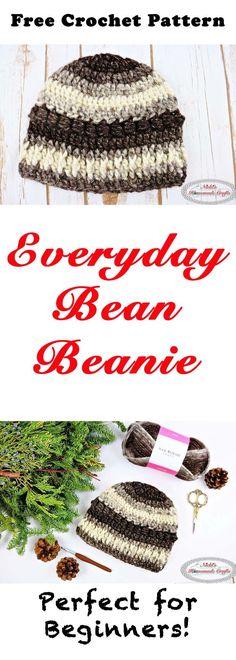 Crochet Beanie Ideas Everyday Bean Beanie - Free Crochet Pattern by Nicki's Homemade Crafts Crochet Crafts, Crochet Yarn, Easy Crochet, Free Crochet, Crochet Projects, Crocheted Hats, Irish Crochet, Crochet Pouch, Knit Hats