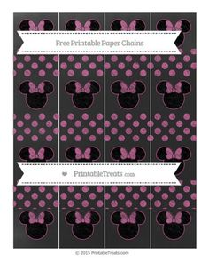 Mulberry Purple Dotted Pattern  Chalk Style Minnie Mouse Paper Chains