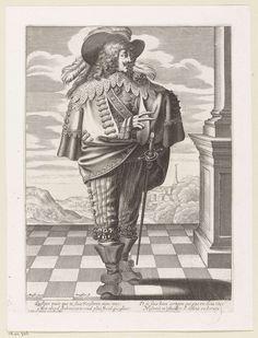 Franse edelman, gekleed volgens de mode van ca. 1625, Gilles Rousselet, Abraham Bosse, Le Blond, 1620 - 1650