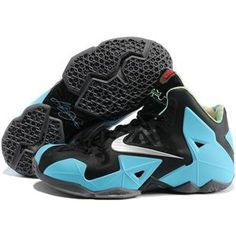 asneakers4u.com LeBron James XI Men Shoes in Black and Sky Blue