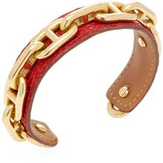 Hermes Vintage Hermès Red & Gold Lizard D'Ancre Cuff Bracelet - Red ($695) ❤ liked on Polyvore featuring jewelry, bracelets, red, cuff bangle, cuff bracelet, lizard jewelry, vintage red jewelry and vintage rose gold jewelry