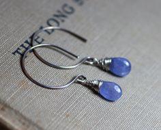 Tanzanite Earrings Violet Blue Earrings by TheTwistedPretzel