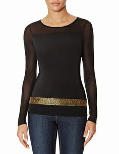 Sequin Border Mesh Top from THELIMITED.com #ItsTime #TheLimited