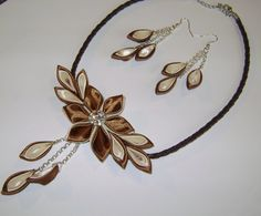 Handmade kanzashi satin fabric brown-ivory set of necklace earringsfor wedding ecs.