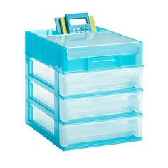 3-Drawer Desktop Organizer Clear/Turquoise