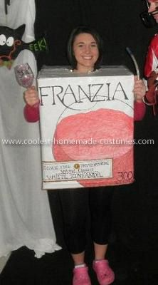 Homemade Boxed Wine Costume: In college, we would always have Tour de Franzia parties when Lance Armstrong would race, so the nights were filled with a lot of boxed Franzia wine. Being