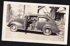 Vintage Antique Photograph Little Old Man Sitting in Antique Car / Automobile