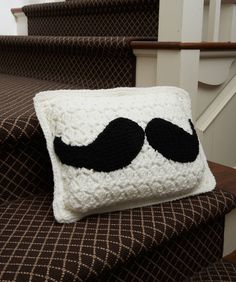 Mustache Pillow Free Crochet Pattern from Red Heart Yarns