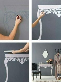 Hang a shelf and paint/stencil table legs on the wall. So perfect to pretty a little girls room without worrying shell destroy the expensive piece of furniture! This would be great if I wouldnt re arrange all the time:-/
