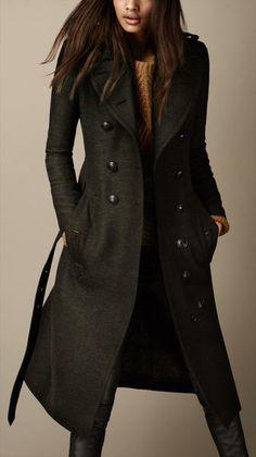 Long Wool Twill Trench Coat - Lyst