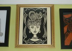 Cat Art Print - The Cat Lady - MidCentury Atomic Retro Beehive Hair Linocut Mod