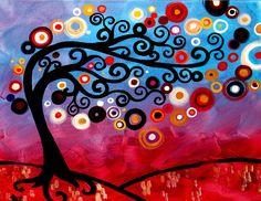 Modern Tree art Contemporary LIMITED Edition Canvas Print Brazillian Sunset by Natasha Wescoat