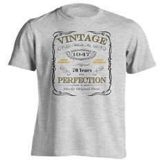 70th Birthday Gift T-Shirt - Born In 1947 - Vintage Aged 70 Years To Perfection - Short Sleeve - Mens - Grey - XXX-Large T Shirt - (2017 Version)