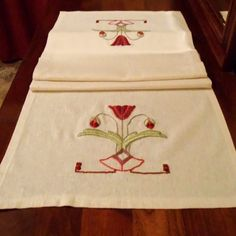 Modern Craftsman, Arts & Crafts Style, Hand Embroidery,  Poppy Linen Table Runner.  Made to Order by Arts & Crafts Stitches  acstitches.com
