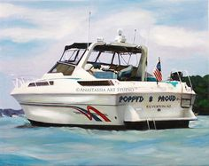 Personalized Father Gift - Custom Yacht/Boat Portrait from Photo - 11x14 Hand Painted & Stretched  Personalized portraits give you an opportunity