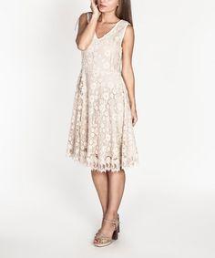 Look what I found on #zulily! Ecru Floral Crochet V-Neck Dress by Tantra #zulilyfinds