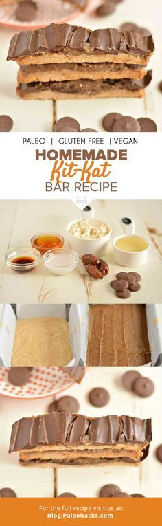Homemade Paleo Kit Kats that are gluten-, dairy- and refined sugar-free. Now you can have your candy and eat it too! For the full recipe, visit us here: http://paleo.co/kitkatrcp
