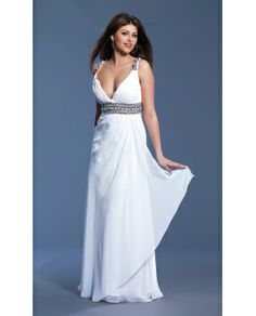 Full length v-neck formal gown by Dave and Johnny. Cheap Long Ivory V-Neck Dress