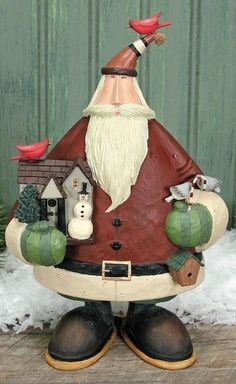 48.76 Forest Trail Santa Williraye Studio Figurine WW2913 NIB with Birdhouse Snowshoes
