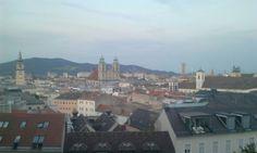 View on Linz from Schloß Cafe on Schloberg Paris Skyline, Travel, Linz, City, Viajes, Destinations, Traveling, Trips