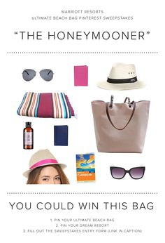 Enter the Marriott Resorts Ultimate Beach Bag Pinterest #Sweepstakes for your chance to win The Honeymooner beach bag prize package or a trip to paradise!