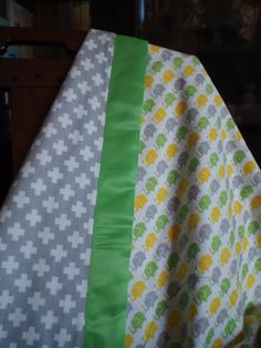 Elephant Flannel Blanket, Green Satin Binding, White/Gray backing, Elephant stictched in center, Receiving Blanket, Great Gift! by 43Roses on Etsy