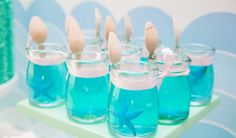 Mermaid birthday ideas- love the blue jello (maybe in mason jars with gummy fish?)