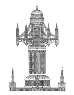 Designer Toby Melville-Brown draws intricate towers, unbuildable skyscrapers–entire worlds in ink–that fully realize the possibilities of paper architecture. Paper Architecture, Architecture Drawings, Historical Architecture, Architecture Design, Ancient Architecture, Building Illustration, Old Building, Retro Futurism, Statues