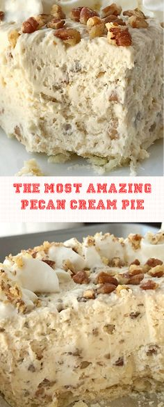 pecan pie cheesecake recipe The Most Amazing Pecan Cream Pie Pecan Desserts, Easy Desserts, Delicious Desserts, Pudding Desserts, Desserts With Pecans, Amazing Dessert Recipes, Autumn Desserts, Pecan Recipes, Pecan Pie Cheesecake