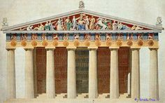 Parthenon in reconstructed color Architecture Antique, Ancient Greek Architecture, Classical Architecture, Historical Architecture, Ancient Greek Buildings, Landscape Architecture, Ancient Greek Art, Ancient Rome, Ancient Greece